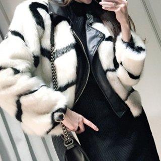 【大特価】ホワイト フェイクファージャケット フェイクレザー 合皮 シェブロンストライプ柄 ライダースジャケット アウター 通販