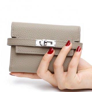 【大特価】4色展開 ブラック ブルー グレー ピンク フェイクレザー 合皮 メタルロック 財布 ウォレット ミニサイズ