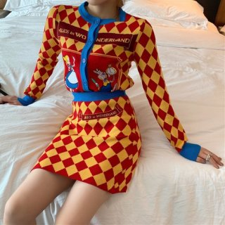 【大特価】オレンジ ダイヤ柄 チェック柄 不思議の国のアリス ニットカーディガン セーター ミニスカート セットアップ 韓国 通販