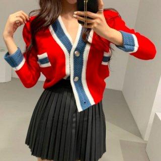 【大特価】3色展開 レッド ブラック グレー ストライプライントリム フロントボタン Vネック ニットカーディガン セーター 韓国