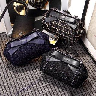 【大特価】3色展開 ブラック ネイビー プレイドチェック柄 チェーンショルダーバッグ リボン がま口バッグ 韓国 通販