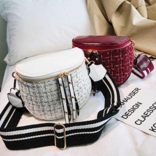 【大特価】3色展開 ブラック レッド ホワイト ツイード調 フェイクレザー 合皮 ショルダーバッグ ウール調 インポート 通販