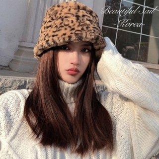 【大特価】4色展開 レオパード柄 ひょう柄 無地 シンプル フェイクファーハット バケットハット 帽子 韓国 インポート 通販