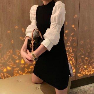 【大特価】ブラックxホワイト カラーブロック コントラストカラー 袖切替デザイン パフスリーブ 長袖 ミニワンピース 韓国