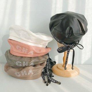 【大特価】5色展開 CHA フェイクレザー 合皮 VOGUE ロゴストラップ ベレー帽 ベレーキャップ 帽子 韓国 通販