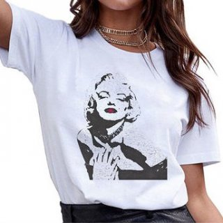 【大特価】ホワイト マリリン・モンロー フロントプリント Tシャツ 半袖 トップス カットソー インポート 通販