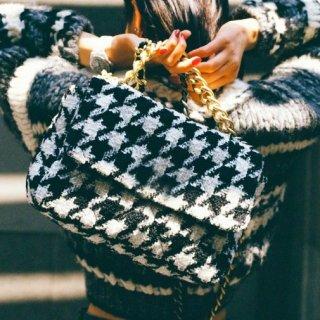 【大特価】2サイズ ブラック 千鳥格子柄 総柄 チェーンバッグ ショルダーバッグ 韓国 インポート 通販