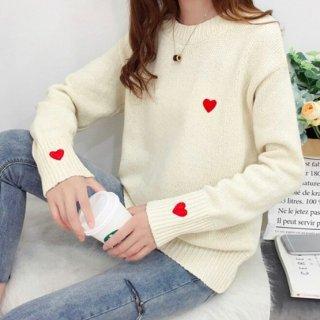 【大特価】3色展開 ホワイト レッド グレー ハートデザイン ニット セーター クルーネック トップス 韓国