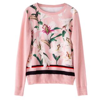 【大特価】ピンク リリー ストライプラインデザイン クルーネック ニット セーター プルオーバー 韓国 通販