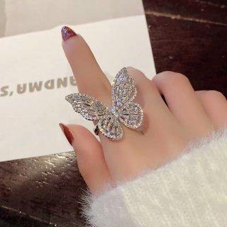 【大特価】シルバー ラインストーン ビジュー バタフライ 蝶々 リング 指輪 韓国 インポート 通販