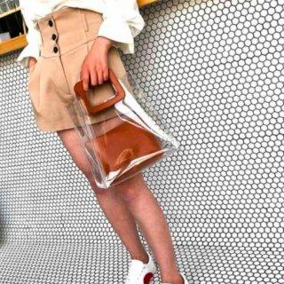 【大特価】2色展開 ホワイト ブラウン フェイクレザー 合皮 スクエアハンドル PVC ビニールバッグ クリアバッグ 通販
