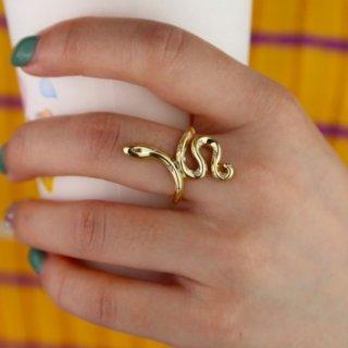 【大特価】ゴールド 4サイズ スネーク ヘビ ワイドリング 指輪 インポート 通販