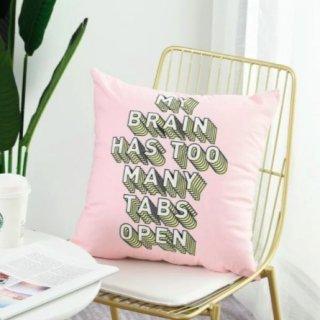 【大特価】ピンク MY BRAIN HAS TOO MANY TABS OPEN ロゴデザイン クッションカバー 海外インテリア