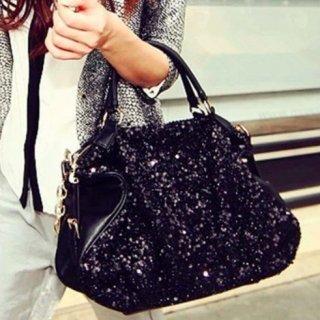 【大特価】ブラック メタリック フェイクレザー 合皮 スパンコール ハンドバッグ 2way ショルダーバッグ 韓国 通販