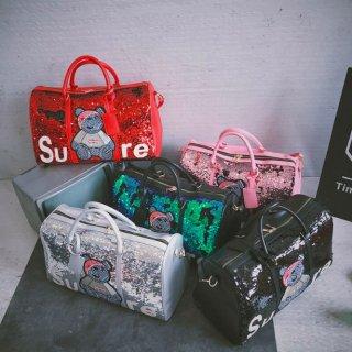 【大特価】5色展開 スパンコール メタリック テディベア sure ロゴ パロディ ボストンバッグ ショルダーバッグ 2way 韓国