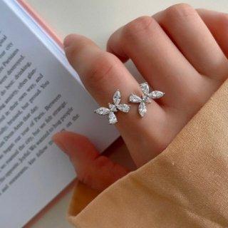 【大特価】シルバー ラインストーン バタフライ 蝶々 925 starling silver ラップリング 韓国 インポート 通販