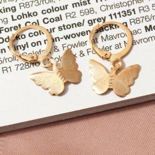 【大特価】2色展開 ゴールド シルバー 2デザイン バタフライ 蝶々 フープピアス ロングピアス 通販