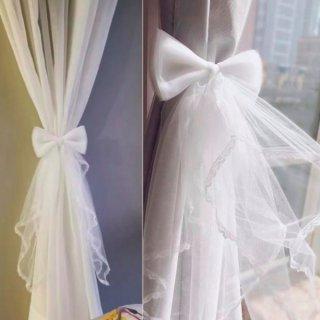 【大特価】1つ売り ホワイト チュールレース リボン カーテンタッセル カーテンホルダー カーテンリボン 海外インテリア 韓国