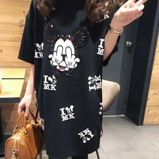 【大特価】ブラック ミッキーマウス パロディ FxxK オーバーサイズ Tシャツ 半袖 ミニワンピース Tワンピ ビッグTシャツ 韓国 通販
