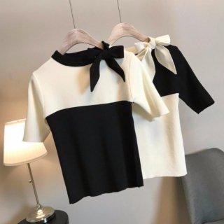 【大特価】2色展開 ブラックxホワイト バイカラー リボン カラーブロック コントラストカラー 半袖 ニット セーター トップス カットソー