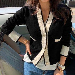 【大特価】3色展開 グレー ブラック ホワイト バイカラー カラーブロック コントラストカラー フロントボタン ニットカーディガン セーター 韓国