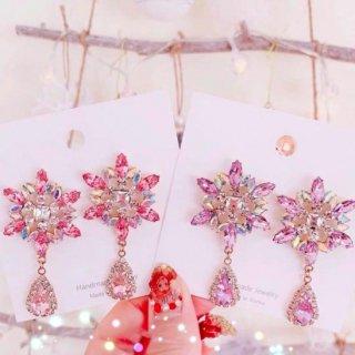 【大特価】2色展開 ピンク パープル ビジュー ラインストーン ロングピアス ドロップピアス インポート 通販