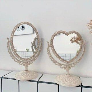 【大特価】2デザイン ハート オーバル アンティーク調 シャビーシック スタンドミラー 卓上ミラー 置き鏡 韓国 海外インテリア