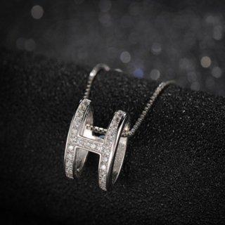 【大特価】シルバー ラインストーン Hデザイン ペンダントチャーム ネックレス 40cm インポート 通販