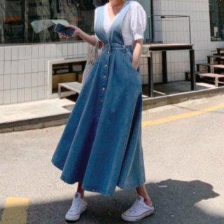 【大特価】ライトブルー Vネック フロントボタン Aライン ジャンバースカート マキシワンピース ロングワンピース デニムワンピース 韓国