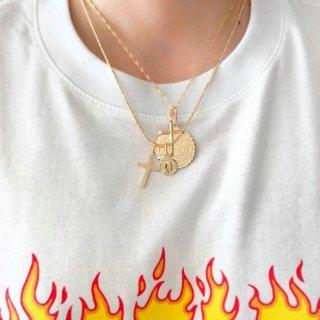 【大特価】ゴールド 2連ネックレス メダイ コイン クロス 十字架 レイヤードネックレス インポート 通販