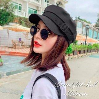 【大特価】2色展開 ブラック ベージュ スクエアバックル ベルトストラップ マリンキャップ キャスケット 帽子 韓国 通販