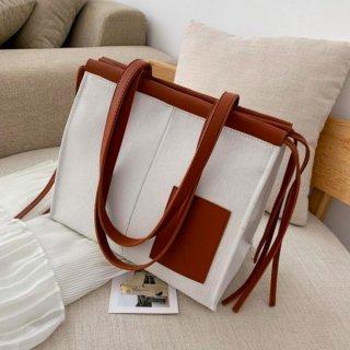 【大特価】3色展開 ホワイト ベージュ ブラック フェイクレザー 合皮 ビッグトートバッグ 大容量 キャンバスバッグ ショルダーバッグ