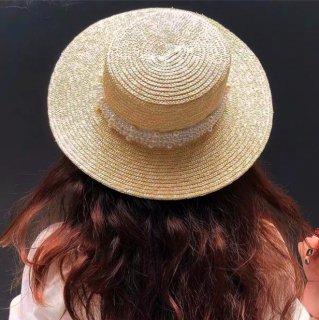【大特価】ライトベージュ フェイクパールビーズ カンカン帽 ストローハット 麦わら帽子 韓国 インポート 通販