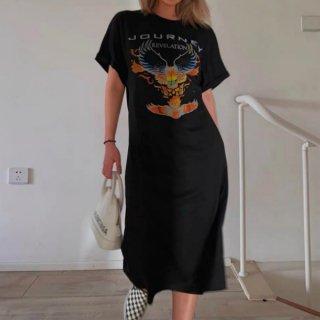 【大特価】ブラック ウイング フロントプリント JOURNEY サイドスリット Tワンピ Tシャツワンピース 半袖 ロングワンピース 古着風デザイン インポート 通販