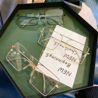 【大特価】4色展開 メタルフレーム スクエアメガネ アイウェア めがね 眼鏡 アイグラス インポート 通販
