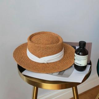 【大特価】2色展開 ブラックリボン ホワイトリボン ベージュ ストローハット カンカン帽 麦わら帽子 インポート 通販
