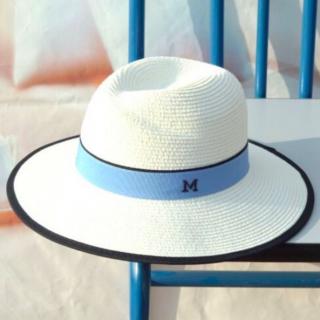 【大特価】6色展開 ブラックトリム Mロゴデザイン ストローハット 麦わら帽子 パナマハット インポート 通販