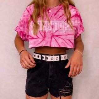 【大特価】2色展開 ブルー ピンク タイダイ柄 染めプリント rock more クロップドトップス カットソー Tシャツ 半袖 インポート 通販