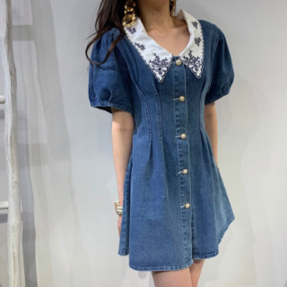【大特価】ブルーxホワイト 襟付き 刺繍デザイン 半袖 パフスリーブ デニムワンピース ミニワンピース ブラウスワンピース 韓国