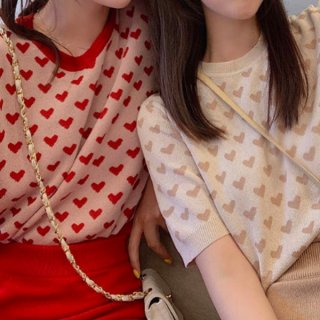 【大特価】2色展開 レッド ベージュ ハートプリント 半袖 サマーニット セーター トップス カットソー 韓国 インポート 通販
