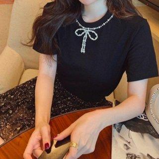 【大特価】2色展開 ブラック ホワイト フェイクパールビーズ リボン Tシャツ 半袖 トップス カットソー 韓国 インポート 通販