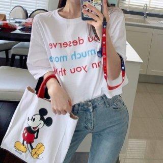 【大特価】ホワイト フロントロゴ You deserve so much more クルーネック Tシャツ 半袖 トップス カットソー 韓国 インポート 通販
