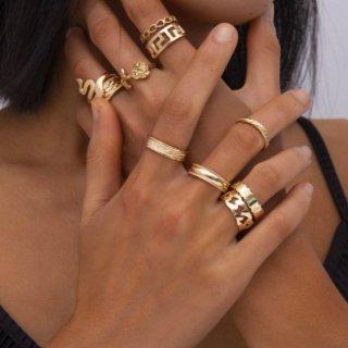 【大特価】11本セット ゴールド スネーク ヘビ 蛇 ワイドリング メタルリング リングセット 指輪 インポート 通販
