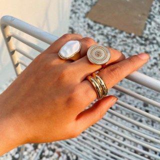 【大特価】3本セット ゴールド フェイクストーンリング 大ぶりリング 指輪 メタルリング ワイドリング リングセット