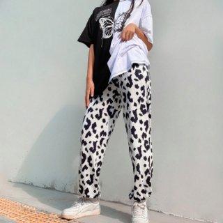 【大特価】ホワイトxブラック レオパード柄 ひょう柄 スウェットパンツ トラックパンツ ジョガーパンツ ワークパンツ リラックスパンツ