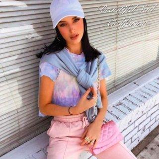 【大特価】パステルカラー マルチカラー タイダイ柄 染めプリント クロップドトップス カットソー Tシャツ 半袖 インポート 通販