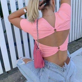 【大特価】ピンク バックレス 背中開き Cosmic ラインストーン フロントロゴ Tシャツ 半袖 クロップドトップス カットソー インポート 通販