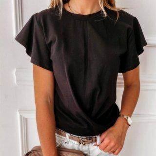 【大特価】6色展開 無地 シンプル クルーネック ラッフルフリルスリーブ Tシャツ 半袖 トップス カットソー ツイスト ドレープ インポート 通販