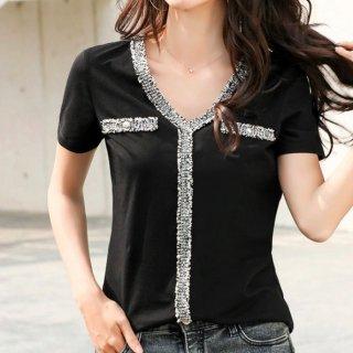 【大特価】2色展開 ブラック ホワイト ツイード調 Vネック パイピングトリムデザイン Tシャツ 半袖 トップス カットソー ダブルポケット 韓国