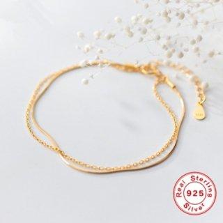 【大特価】ゴールド ダブルチェーンブレスレット レイヤード 重ね付け風 2連チェーン 華奢アクセサリー インポート 通販